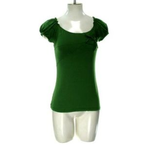 Max Studio Women's XSmall Solid Green Knit Top